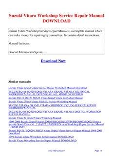 suzuki vitara workshop service repair manual download pdf drive rh pdfdrive com 2010 grand vitara service manual pdf grand vitara service manual