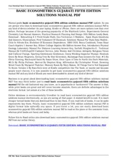 basic econometrics gujarati fifth edition solutions manual pdf pdf rh pdfdrive com gujarati basic econometrics solution manual pdf gujarati basic econometrics solution manual pdf