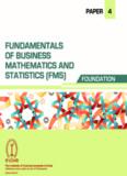 Paper 4: Fundamentals of Business Mathematics & Statistic