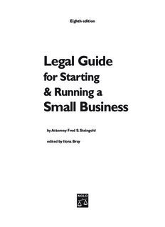 BUSINESS Legal Guide For Starting Running A Small Business 8th