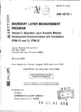 Boundary Layer Measurement Program. Volume I. Boundary Layer