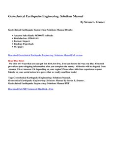 steven l kramer geotechnical earthquake engineering solutions