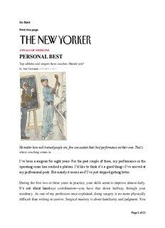 Personal Best – Atul Gawande