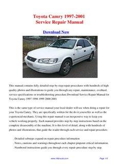toyota camry 1997 2001 repair manual pdf drive rh pdfdrive com