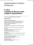 Argumentation et Analyse du discours 9- 2012 - L'analyse du discours entre critique et