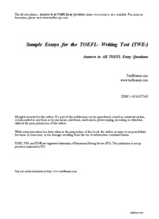 My School Essay In English Sample Essays For The Toefl Writing Test Twe Essay On Science And Technology also Should Condoms Be Available In High School Essay Sample Essays For The Toefl Writing Test Twe  Pdf Drive Essay Writing Business