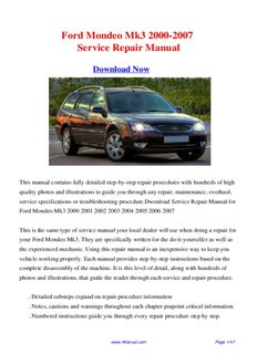 ford mondeo mk3 2000 2007 service repair manual pdf drive rh pdfdrive com Ford Mondeo 1999 2005 Ford Mondeo