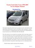 1999-2005 Toyota Yaris Echo Verso Workshop Manual