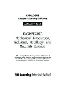 ENGINEERING Mechanical, Production, Industrial, Metallurgy, and