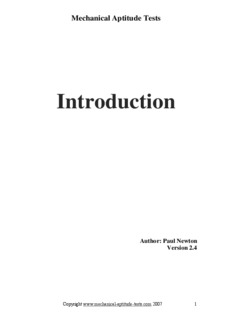 Introduction - Mechanical Aptitude Tests