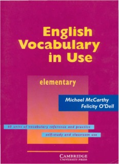 Cambridge English Vocabulary In Use Elementary Pdf