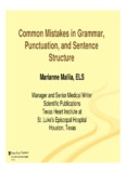 Common Mistakes in Grammar Common Mistakes in Grammar