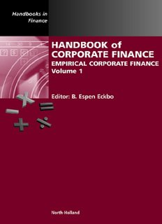 Handbook of Corporate Finance Empirical Corporate Finance Volume 1