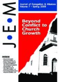 Beyond Conflict to Church Growth Beyond Conflict to Church Growth