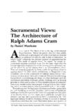 Sacramental Views: The Architecture of Ralph Adams Cram