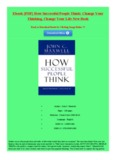 How Successful People Think: Change Your Thinking, Change Your Life New Book