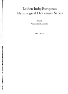 Leiden Indo-European Etymological Dictionary Series