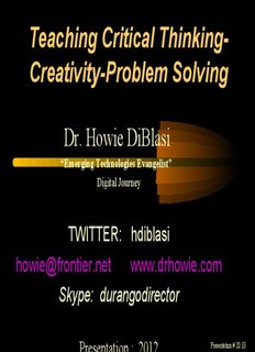 Teaching Critical Thinking- Creativity-Problem Solving