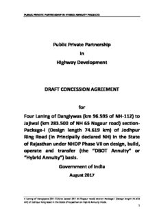 Public Private Partnership In Highway Development DRAFT CONCESSION AGREEMENT for Four ...