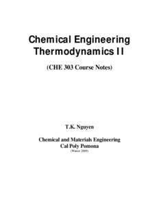 Chemical Engineering Thermodynamics II