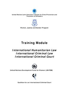 International Humanitarian Law International Criminal Law