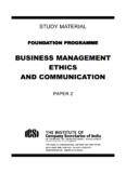BUSINESS MANAGEMENT ETHICS AND COMMUNICATION - ICSI