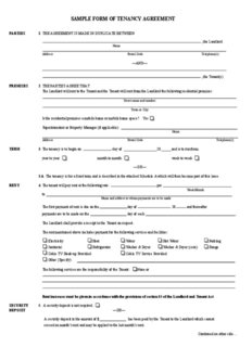 SAMPLE FORM OF TENANCY AGREEMENT - Community Services - Department
