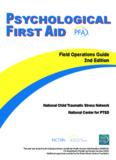 Psychological First Aid Manual (PFA) - Child Trauma