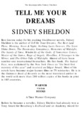 The Incomparable Sidney Sheldon TELL ME YOUR DREAMS