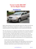 Toyota Corolla 2004-2007 Repair Manual