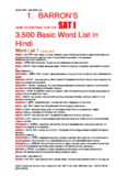 1. BARRON'S 3500 Basic Word List in Hindi
