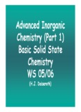 Advanced Inorganic Chemistry (Part 1) Basic Solid State Chemistry