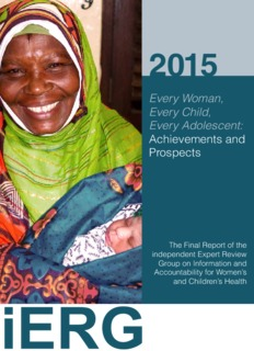 Every Woman, Every Child, Every Adolescent: Achievements and