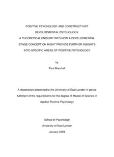 POSITIVE PSYCHOLOGY AND CONSTRUCTIVIST DEVELOPMENTAL PSYCHOLOGY