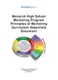 Monarch High School Marketing Program Principles of Marketing Curriculum Essentials Document