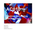 Financial Accounting and Reporting Financial Accounting and Reporting