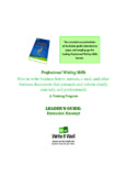 Professional Writing Skills How to write business letters, memos, e