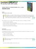 DARING GREATLY BY BRENÉ BROWN, PH. D., LMSW READING GUIDE