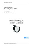 Martin Luther King Jr. Early College MLK Jr. Renewal Application