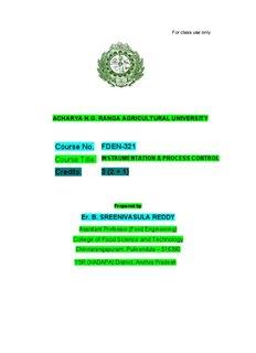 Instrumentation & Process Control - acharya ng ranga agricultural