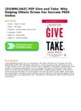 PDF Give and Take: Why Helping Others Drives Our Success FREE Online