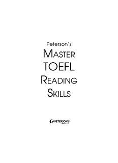 Peterson's MASTER TOEFL READING SKILLS