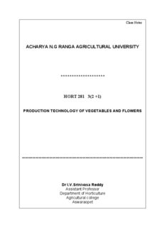 HORT 281 Vegetables and Flowers - acharya ng ranga agricultural