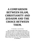 a comparison between islam, christianity and judaism and the