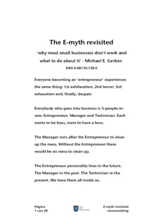 E-myth revisited by Michael E. Gerber summary