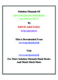 Solution Manuals Of ADVANCED ENGINEERING MATHEMATICS ERWIN
