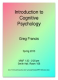 Introduction to Cognitive Psychology - Psychological Sciences
