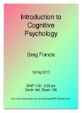 Introduction to Cognitive Psychology - Psychological Sciences