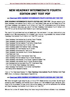 New Headway Intermediate Fourth Edition Pdf