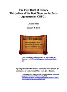 The First Draft of History Thirty-Four of the Best Pieces on the Paris Agreement at COP 21